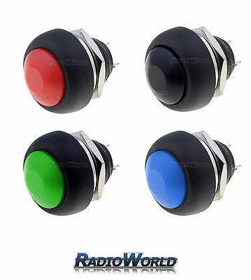 Black / Red Momentary (ON)-OFF Round Push Button Switch 12v Car Van Horn