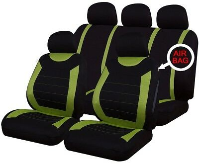 9 PCE Sports Carnaby Green/ Black Full Set of Seat Covers Ford Fiesta Focus KA