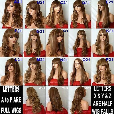 Brown Highlight Natural Long Curly Straight Wavy Women Party Fashion Ladies WIG