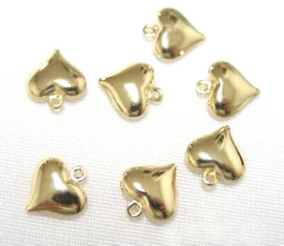 50 Gold Plated Puffy Heart Metal Charm Beads 14MM