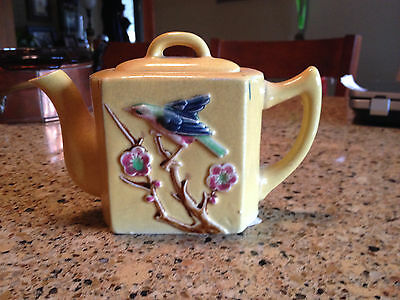 Vintage Ceramic Yellow Teapot W/Birds on a Branch Made in Japan 4 1/2""