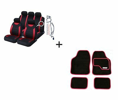9 PCE Sports Carnaby Red / Black CAR Seat Covers + Matching Mat Set For Skoda