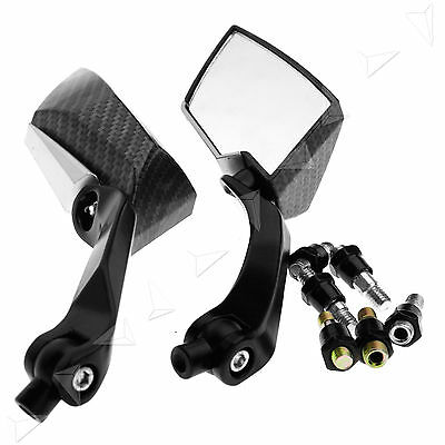 Pair of Universal Black/Carbon 8/10mm Motorcycle Scooter Mirrors Aluminium New