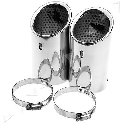 2PCS Stainless Steel Tip Pipe Exhaust Tail Fit For VW CC EOS 06-12 PASSAT B6