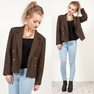 Womens Vintage 90's Brown Check Plaid Houndstooth Cropped Blazer Jacket 16