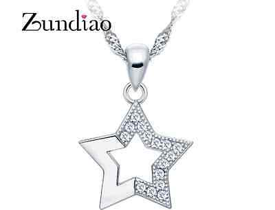 925 Sterling silver Star Micro Pave Crystal Pendant Necklace w Chain Gift Box H9