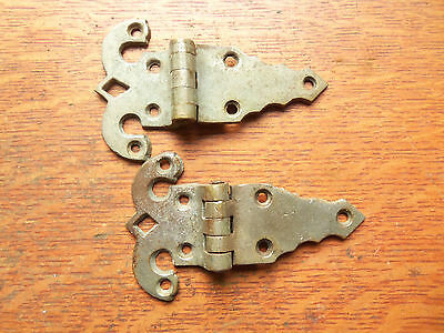 Two Antique Nickel-Plated Brass Gate or Large Cupboard Door Hinges Offset