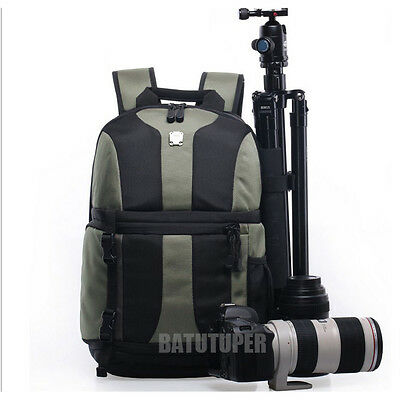 DSLR Camera Backpack Laptop Bag Case Waterproof For Canon Sony Nikon+Rain Cover