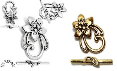 TOGGLE CLASP FANCY FLOWER 30mm JEWELRY FINDING ORNATE 10 SETS FREE SHIP