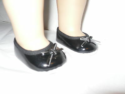 """Black Doll Clothes Slip On Shoes with Bow fits 18""""  American Girl Doll"""