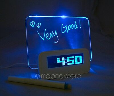 Blue LED Luminous Fluorescent Message Board Digital Alarm Clock Night light +Pen