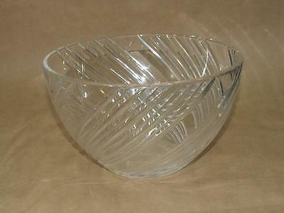 "Vintage Signed Cate or Cote Spiral Cut Crystal Serving Bowl 5.75"" Tall 9.5"" Wide"
