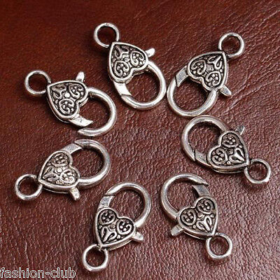Wholesale 5/10x Silver Heart Lobster Clasps For Bracelet Necklace Jewelry Making