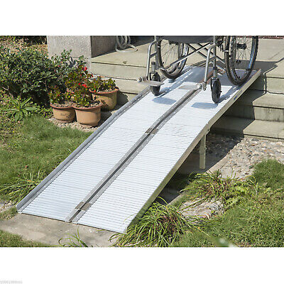 8' Aluminum Wheelchair Ramp Loading Ramp Scooter Mobility Handicap Ramp Portable