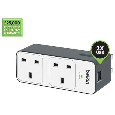 Belkin 2 Way Surge Protected Plug with 2 x 2.4 Amp USB Charge Ports for mobiles