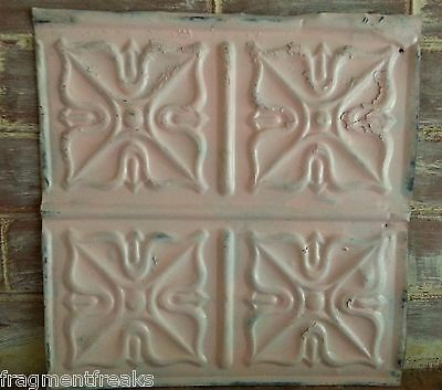 "1890's Reclaimed Metal 12"" x 12"" Antique Tin Ceiling Tile Pink Q12"