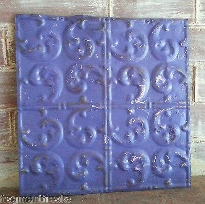 "1890's Reclaimed Metal 12"" x 12"" Antique Tin Ceiling Tile  Purple Q15"