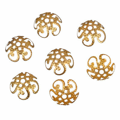 200 Pcs Wholsale Golden Sivery Hollow Flower End Spacer Metal Bead Caps 10mm