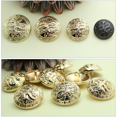 12PCS Black Gold Dragon Carved Metal Shank Buttons Sewing Button 18 20 23 25mm