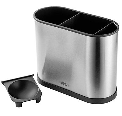 Stellar Sink Caddy 3 Compartments Removable Soap Holder Brushed Stainless Steel