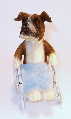 Pit Bull Terrier in a Wheel Chair Dog  Figurine so Adorable !