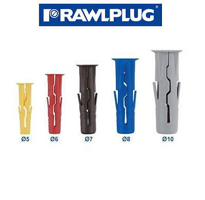 GENUINE RAWLPLUG UNO Screw Wall Plugs Yellow Red Brown Blue Grey 96, 288 or 1000