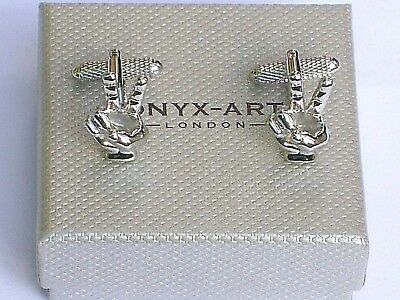 """""""V SIGN"""" """"2 fingers""""SENTIMENT-""""VICTORY"""" Silver Style METAL CUFF LINKS in BOX-NEW"""