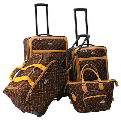 American Flyer AF Signature 4-Piece Luggage Set - Chocolate Gold