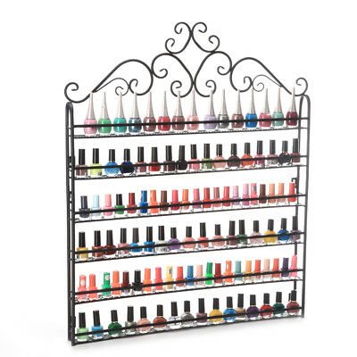 6 TIER Brown Nail Polish Display Wall Rack Metal Organizer(Hold to 120 Bottles)
