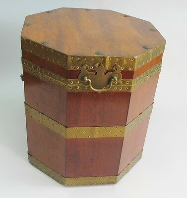 Large 19th C. American Antique Mahogany Octagonal Cellarette Wine Box  c. 1890