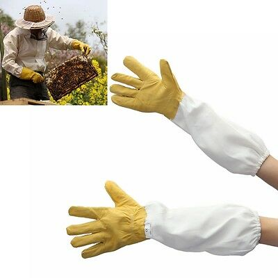 Ventilated superior beekeeper Bee Gloves Gold soft hide Protective Long Sleeve L