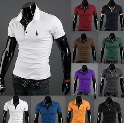 Mens Slim Fit Stylish POLO Shirt Short Sleeve Casual T-shirt Tee Tops M/L/XL/XXL