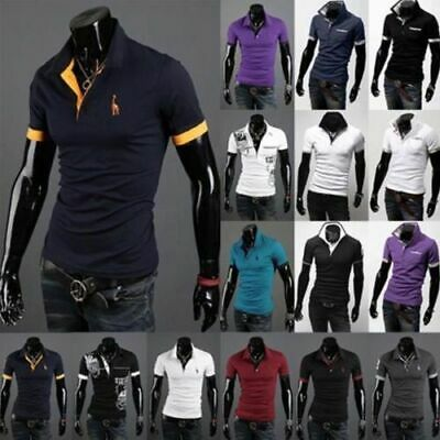 UK Mens Slim Fit Stylish POLO Shirt Short Sleeve Casual T-shirt Tee Tops M-XXXL