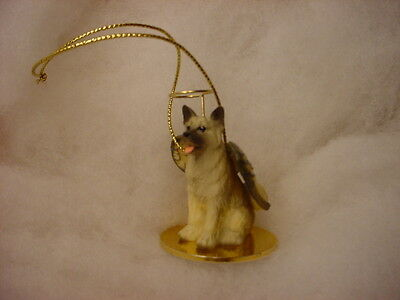 AKITA dog ANGEL Ornament HAND PAINTED Resin Figurine Christmas fawn brown puppy