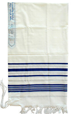 "Traditional Tallit 100% Wool Prayer Shawl Tallis Blue & Silver 20"" X 64"" Israel"