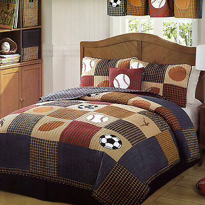 CLASSIC SPORTS Full Queen QUILT SET : BOYS STATE FOOTBALL BASEBALL COMFORTER