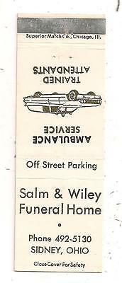 Salm & Wiley Funeral Home Sidney OH Ambulance Service Matchcover Shelby 062815