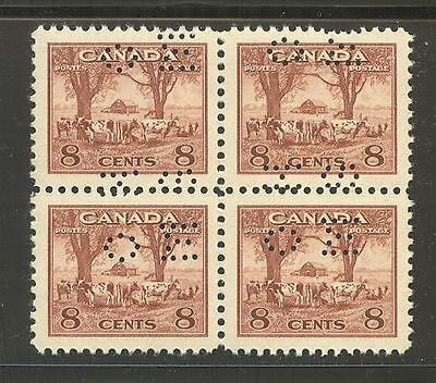 "Canada #O256, 1942 8c Farm Scene - War Issue ""OHMS"" Perfin Official B4 Unused NH"