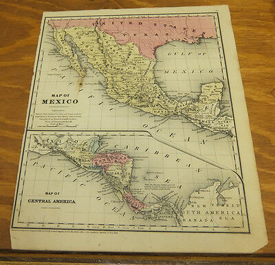 1844 Antique COLOR Mitchell Map/NEW ENGLAND, or EASTERN STATES/ME,NH,VT,CT,MA,RI