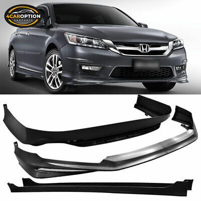 Fits 13-15 Accord 4Dr MD Front + Rear Bumper Lip + Side Skirts Unpainted PP