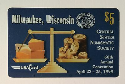 1999 Central States Numismatic Society PREPAID PHONECARD MILWAUKEE WI