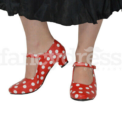 Girls Red White Spanish Flamenco Shoes Dance World Book Week Costume NEW