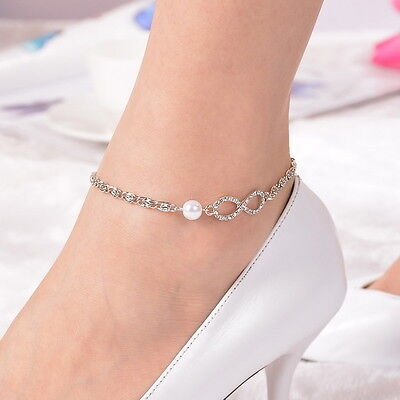 1PC Simple Crystal Infinito Heart White Anklet Bracelet Foot Chain Jewelry