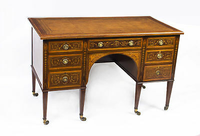 Antique Edwardian Sheraton Revival Inlaid Desk c.1890