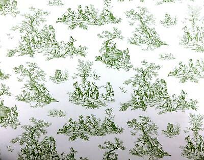 Dolls House Miniature Print 1:12 Scale Pre Pasted Wallpaper Green Toile