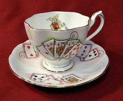Queen Anne LADY LUCK Tea Cup & Saucer Joker Playing Cards Bone China England