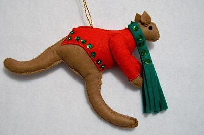 Hand~Crafted Felt Kangaroo Christmas Ornament W/sequins~New