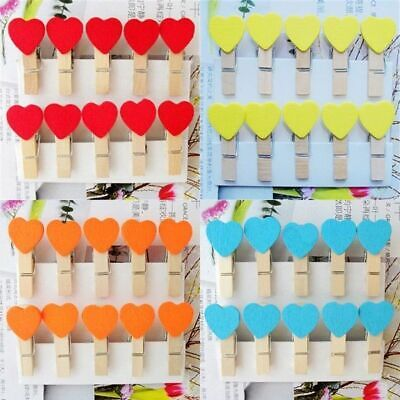 10/50Pc 35mm Mini Wooden Pegs Photo Note Clip Love Heart Wedding Home Decor Gift