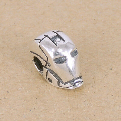 925 Stamp Sterling Silver Ironman Mask Charm Bead Vintage 8x15mm WSP344