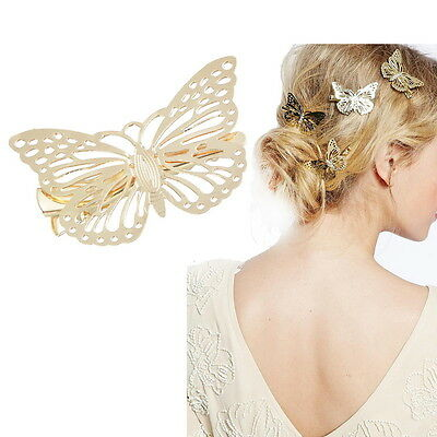 1PC Womens Shiny Golden Butterfly Hair Clip Hollow Out Hair Accessories
